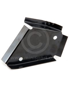 ALA5532 RH stiffening bracket fits in the boot to strengthen the rear seat belt lower mounting area on Mini Saloon models.