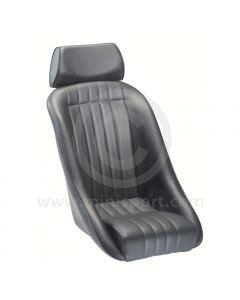 Mini Classic & Headrest - Black Soft Grain Vinyl outers/Black Basketweave centres
