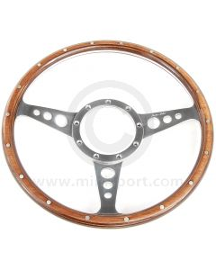 """13"""" Dished Woodrim Steering Wheel with Polished Spokes"""