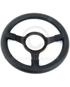 """12"""" Dished Black Leather Steering Wheel with Black Spokes"""