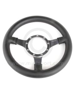 """12"""" Dished Black Leather Steering Wheel with Polished Spokes"""