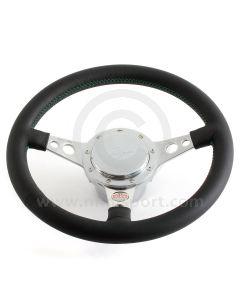 Paddy Hopkirk Classic Mini Black Steering Wheel - No Horn - Green Stitching