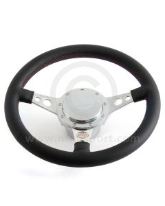 Paddy Hopkirk Mini Leather Steering Wheel with Horn - Black with Red Stitching