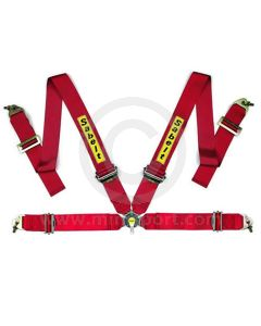 Sabelt Saloon Series 4 Point Harness - Aluminium Adjusters - Red