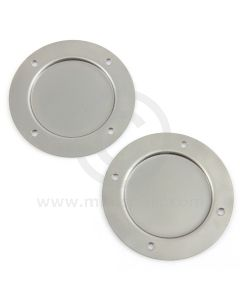 """SMB106 Mini fresh air vent blanking plates, manufactured from mild steel approximately 4.25"""" diameter."""