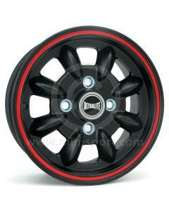 SPDML1PBR Ultralite 5.5'' x 12'' Mini alloy wheel finished matt black with red pinstripe