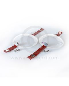 Head Lamp Covers Perspex inc Red Vinyl Straps & Body Fittings
