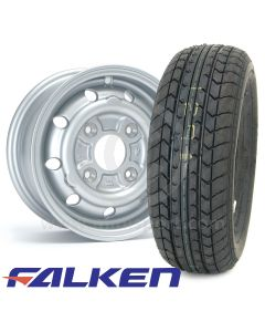 "4.5"" x 10"" silver alloy Cooper S replica wheel and Falken FK07E tyre package"