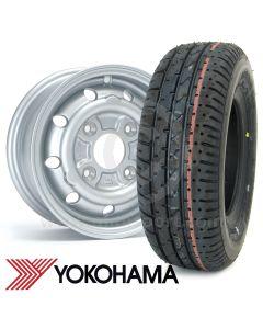 "4.5"" x 10"" silver alloy Cooper S replica wheel and Yokohama A008 tyre package"